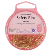 Hemline Safety Pins - 20mm long - Brass - Pack of 50